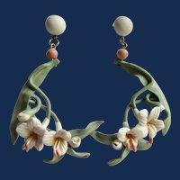 Vintage Huge 3 1/2 Inch Retro Style Soft Polymer Plumeria Flower Shoulder Dusters Earrings