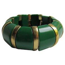 Art Deco Green Bakelite with Brass Link Elastic Bracelet