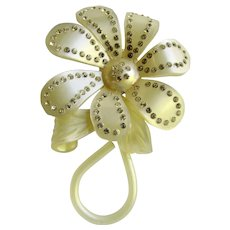 Art Deco Celluloid Rhinestone Flower 7 Petal Extra Large Brooch