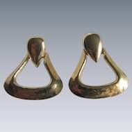 Vintage Modernist Hammered Brass Doorknocker Pierced Earrings