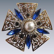 Vintage Mint Victorian Revival Style Faux Simulated Mabe Pearl & Rhinestone Brooch