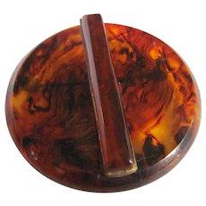 Art Deco Bakelite Prystal Rootbeer swirl Circle Brooch