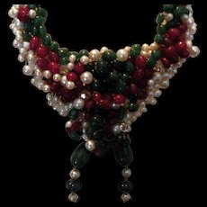Genuine Emerald & Ruby beads & Pearls : Holiday