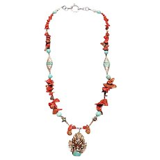 Tibetan beads Coral Turquoise : Lucky Dragon
