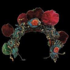Antique Chinese Tiara Style Kingfisher Headdress