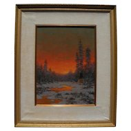 "Richard A. ""Dick"" Heichberger Indian Camp ""Winter Glow"" oil/board 16"" x 12"" WOW!"
