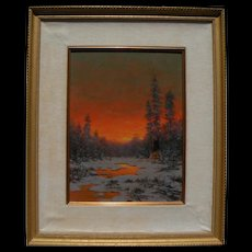 """Richard A. """"Dick"""" Heichberger Indian Camp """"Winter Glow"""" oil/board 16"""" x 12"""" WOW!"""