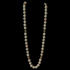 """Opera Length 28"""" Large Angel Skin Coral Necklace with 14 KT Gold Spacers"""