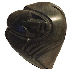 Richard Mteki Zimbabwean Shona carved and polished stone carving of an African - Red Tag Sale Item