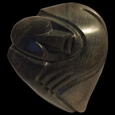 Richard Mteki Zimbabwean Shona carved and polished stone carving of an African