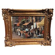 Magnificent Gil DiCicco oil painting of a market scene in early New York's Hester Place