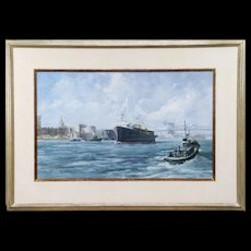 Important artist RAY ELLIS - huge watercolor painting of shipping on the Savannah River