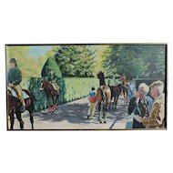 PAUL KENTZ oil on canvas of Belmont Park showing race horses in the paddock area