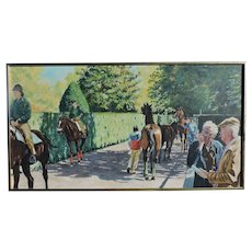PAUL KENTZ oil on canvas of Belmont Park showing race horses in the paddock area