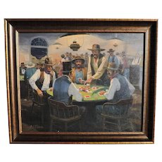 Nicholas S. Firfires oil painting on canvas of an action-packed old west poker game