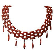 Magnificent salmon coral Victorian flexible link matching necklace and bracelet