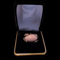 Angel skin coral 14K East/West cabochon ring, 11 grams, size 5¾