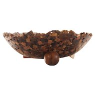 PERRY POLICICCHIO Koa wood scalloped and footed bowl, signed.