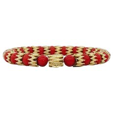 Magnificent Mediterranean Red Coral and 22K Gold 8 inch Bracelet