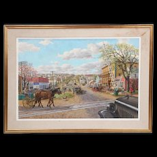 Sven Ohrvel Carlson oil on canvas of a busy New England Main Street scene
