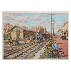 Sven Ohrvel Carlson oil on canvas of a busy St. Mary's Train Station scene