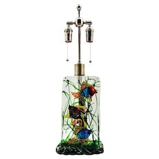Magnificent Murano (Italian) 3-Fish BLOCK AQUARIUM LAMP, Cenedese, Licata