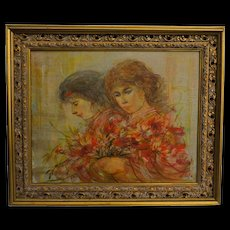 EDNA HIBEL original Oil Glaze Painting on Board of Two Beautiful Young Flower Girls