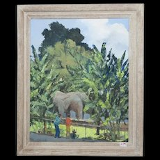 "PAUAHI CLARK Hawaiian oil on canvas, Honolulu Zoo ""See the Elephants"""