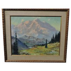 Harvey GOODALE Alaskan landscape oil on canvas of a very large mountain scene