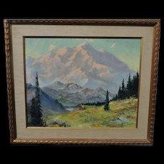 Harvey GOODALE Alaskan landscape oil on canvas of a very large mountain scene