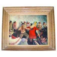 Harvey GOODALE oil on canvas of an action-packed Alaskan Inuit dancing scene