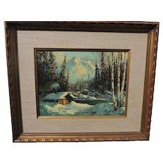 Ellen Henne (Goodale) Alaskan oil on canvas of a log cabin by mountain lake