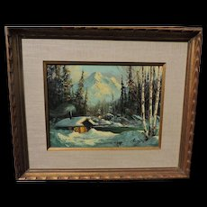 Ellen Henne (Goodale) Alaskan oil on canvas of a log cabin by mountain lake