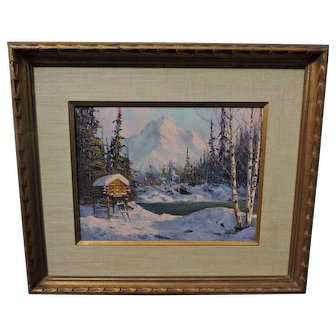 Ellen Henne (Goodale) Alaskan oil on canvas of a large food cache by mountain lake