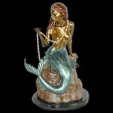 "Bill TOMA Large Bronze Sculpture of a Beautiful Mermaid figure entitled ""Pearls"""