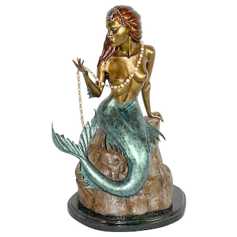 """Bill TOMA Large Bronze Sculpture of a Beautiful Mermaid figure entitled """"Pearls"""""""