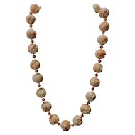 Large antique Chinese hand carved precious angel skin coral bead necklace