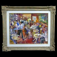 Valery Tsarikovsky (VAL TSAR) superb action-packed café scene oil on canvas, originally $8,000