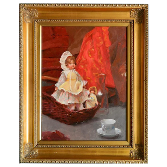 Clayton J. Beck III (American 1964- ) - ''Still-Life with Doll'' - oil on linen.