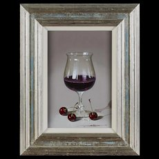 JAVIER MULIO (Spanish, born 1957) ultra realistic oil painting, Still Life With Red Wine