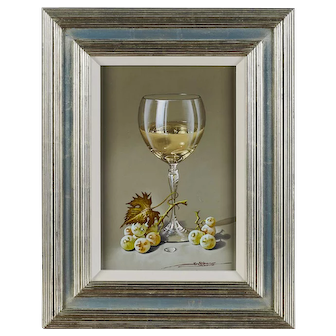JAVIER MULIO Still Life with White Wine, a Wine Glass, Grapes, and a Grape Leaf