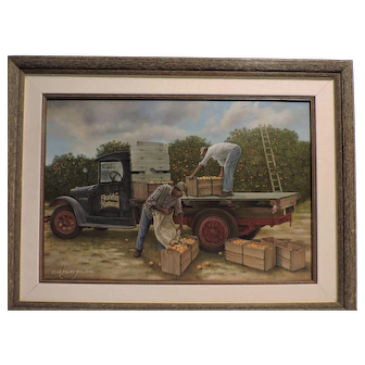 Keith Martin Johns oil on canvas painting of Orange Grove workers toiling under the hot sun.