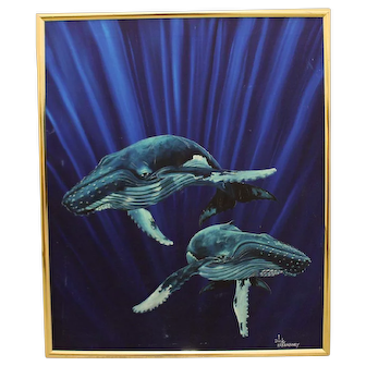"DICK KEARNEY ""Song of the Whales"" Hawaiian marine oil painting of two humpback whales"
