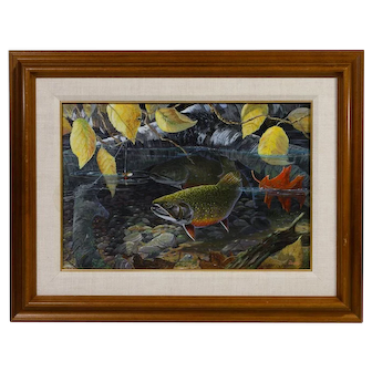 "TERRY DOUGHTY original acrylic painting on board featuring two brook trout, titled ""Suspicion - Brook Trout"""