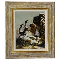"GENE DODGE wildlife artist of an original oil painting on masonite of three Gambel Quail titled ""Royal Trio"""