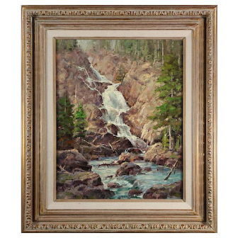 "JIM WILCOX oil on canvas painting titled ""Hidden Falls"", signed lower right"