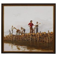 DON GRAY (b.1948 Oregon) acrylic painting on masonite of a colorful northwest bridge building logging scene.