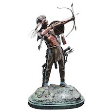 "HAROLD SHELTON important cold-painted bronze titled ""Defender of the Dakota"""