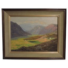 "HOWARD LITTLE California oil on board painting titled ""San Jacinto Mt. from Chino Canyon"""