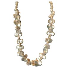 "Twin Double Coin White Pearl 20"" Necklace"